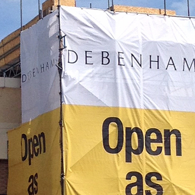 Debenhams scaffolding sign