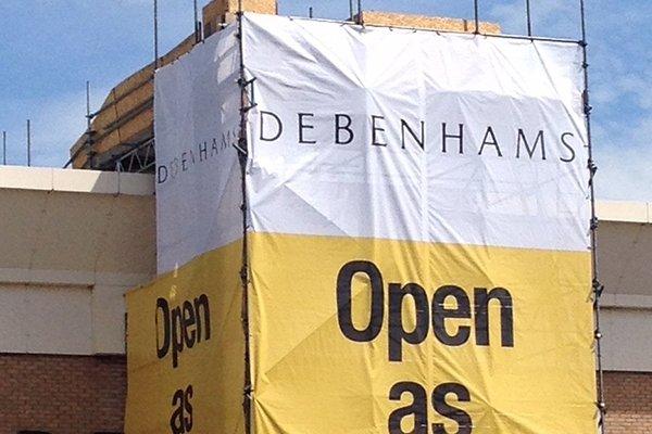 Debenhams scaffolding sign
