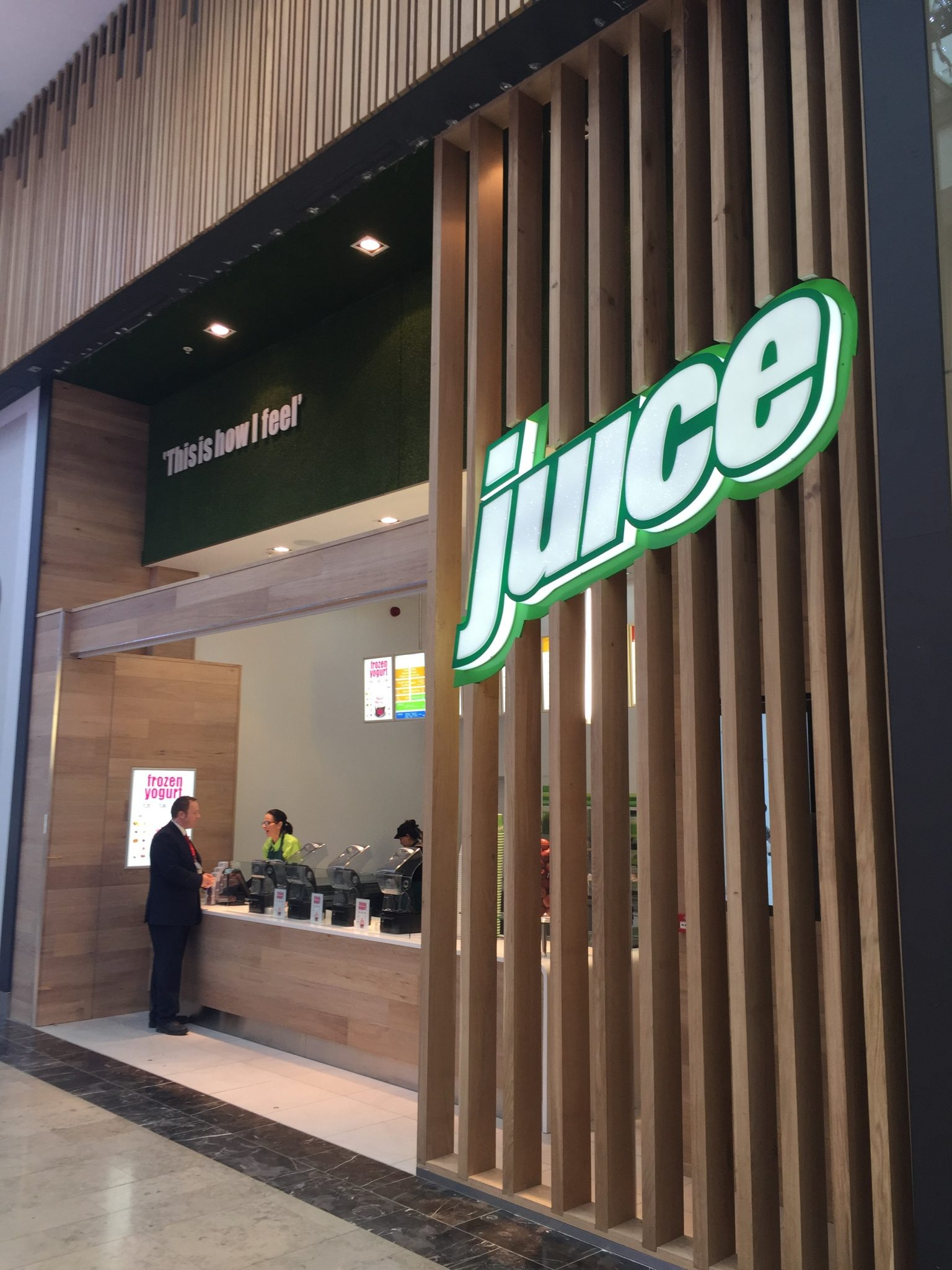 shopping centre juice bar retail LED sign manufacture fitting Sheffield Doncaster