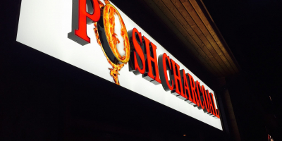 Posh Charcoal restaurant cafe takeaway LED sign supplier Doncaster