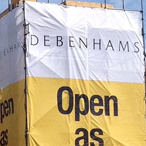 debenhams under construction scaffold sign