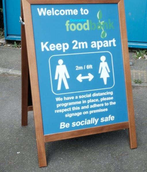 Doncaster Food Bank Social Distancing Signage